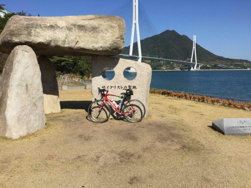 サイクリングリストの聖地の碑
